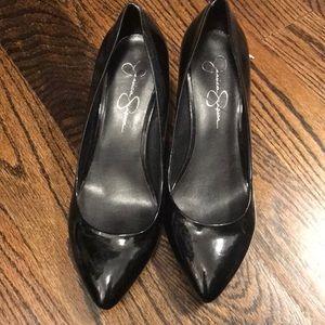 Jessica Simpson black patent leather small heel